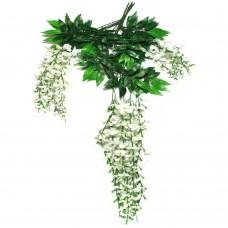 Elegant Artificial Silk Flowers Wisteria Vine Rattan For Wedding Centerpieces Decorations Bouquet Garland Home Ornament 12Pcs/Set (White)