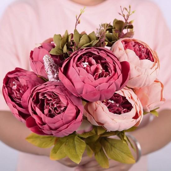 Mylifeunit artificial silk peony flowers bouquet for home wedding mylifeunit artificial silk peony flowers bouquet for home wedding flowers arrangement dark pink mightylinksfo