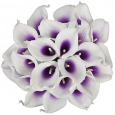 "13"" Artificial Calla Lily Bridal Wedding Bouquet Latex Real Touch PU Flower (Pack of 20, Purple White)"