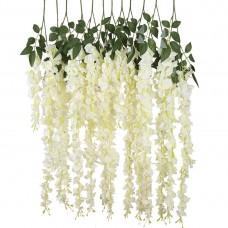 12 PCS 3.6 Ft Artificial Silk Wisteria Vine Rattan Hanging Flower for Garden Floral Decoration Home Party Wedding Décor (White)