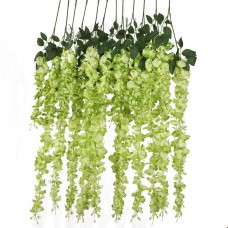 12 PCS 3.6 Ft Artificial Silk Wisteria Vine Rattan Hanging Flower for Garden Floral Decoration Home Party Wedding Décor (Green)