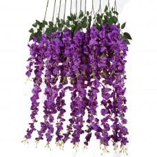 12 PCS 3.6 Ft Artificial Silk Wisteria Vine Rattan Hanging Flower for Garden Floral Decoration Home Party Wedding Décor (Purple)