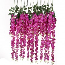 12 PCS 3.6 Ft Artificial Silk Wisteria Vine Rattan Hanging Flower for Garden Floral Decoration Home Party Wedding Décor (Red)