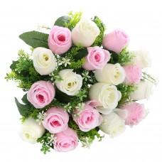 18 Heads Artificial Silk Rose Buds Wedding Flower Bouquet Centerpiece Décor (White & Pink)