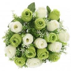 18 Heads Artificial Silk Rose Buds Wedding Flower Bouquet Centerpiece Décor (Green & White)
