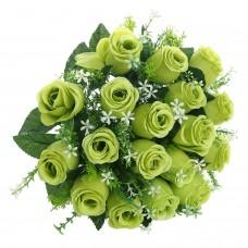 18 Heads Artificial Silk Rose Buds Wedding Flower Bouquet Centerpiece Décor (Green)