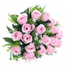 18 Heads Artificial Silk Rose Buds Wedding Flower Bouquet Centerpiece Décor (Pink)