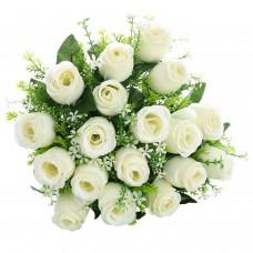 18 Heads Artificial Silk Rose Buds Wedding Flower Bouquet Centerpiece Décor (White)