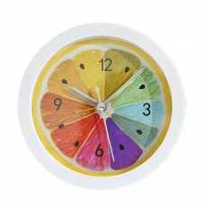 Silent Bedroom Clock, Table Clock with Colorful Lemon Pattern, 4 inch Diameter, AA Battery