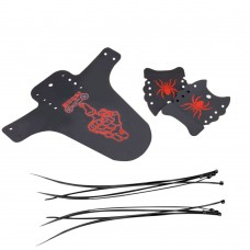 Bike Fenders, Adjustable Mountain Bike Mudguard (Black&Red)