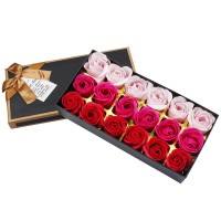 Preserved Rose Scented Bath Soap Rose in Gift Box, 18PCS (Red)