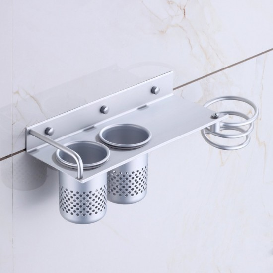 mylifeunit wall mount hair dryer hanging rack organizer aluminum hair dryer holder with 2 cups