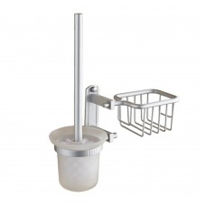 Wall Mount Toilet Brush Set, Aluminum Toilet Bowl Brush and Holder with Toilet Cleaner Stand