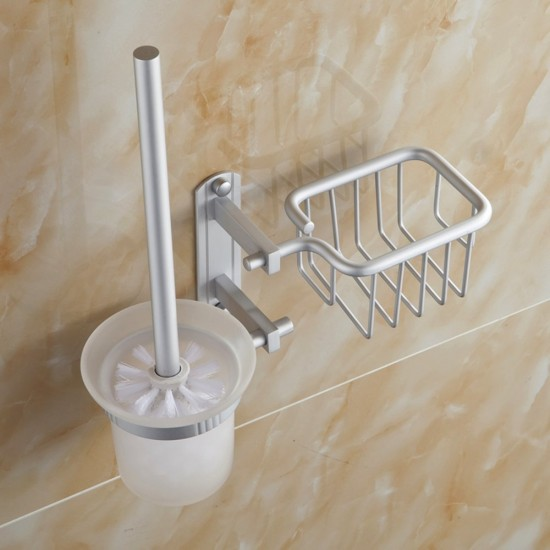 Mylifeunit Wall Mount Toilet Brush Set Aluminum Toilet