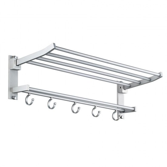 MyLifeUNIT: Wall Mount Towel Rack Bathroom Shelf, Aluminum Double ...