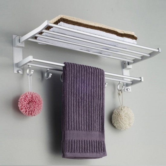 MyLifeUNIT: Wall Mount Towel Rack Bathroom Shelf, Aluminum Double ...