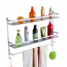 Wall Mount Bathroom Shower Caddy, Aluminum Double Tier Bathroom Tray Organizer with Towel Rack (23.6 Inch)