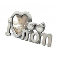 Photo Frame for Mom, Metallic Photo Frame on Desk I Heart Mom Display, Gift for Mom (for Mom)
