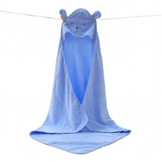 Children's Hooded Bath Towels, Baby Beach Towel, Nature Cotton (blue)