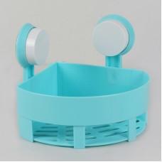 Waterproof Suction Cup Corner Shower Caddy Shower Shelf (Blue)