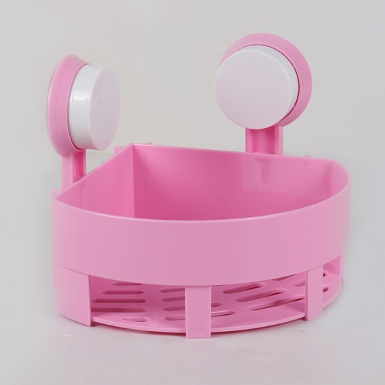 Waterproof Suction Cup Corner Shower Caddy Shower Shelf (Pink)