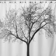 Big Scenery Tree Fabric Shower Curtain (Black)