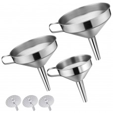 18/8 Stainless Steel Funnel Set, Kitchen Funnels with Strainers, Set of 3