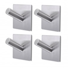 3M Self Adhesive Coat Hooks, Stainless Steel Decorative Stick Wall Hooks Clothes Hangers for Home Kitchen Coats Hats Keys Bags (4 Pcs/Set)
