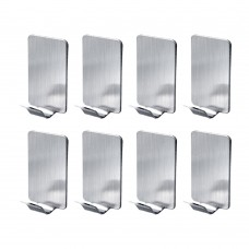 3M Self Adhesive Coat Hooks, Stainless Steel Wall Mount Wall Hooks Clothes Hangers for Home Kitchen Coats Hats Keys Bags (8 Pcs/Set)