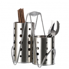 Stainless Steel Tableware Cage Chopsticks Tube Storage Utensil Holder, Circular Hole ( 4x7 Inch )