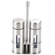 Salt and Pepper Shaker Set, Stainless Steel Salt Pepper Shakers with Holder, 2 PCS