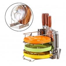 Pot Lid Organizer Rack, Adjustable Lid Holder with Kitchen Knife Rack