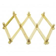 Expanding Coat rack 10 Hooks, Natural Bamboo
