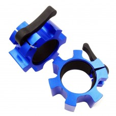 Barbell Clamps, Barbell Collars, 2-inch Olympic Size Lock Collars (a pair) (Blue)