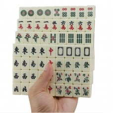 Chinese Travel Mahjong Set with Case, Mini Mah Jongg Set Ivory Tile