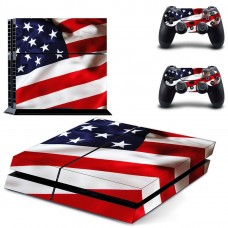 American Flag PS4 Console Skin, US Flag Decal Sticker + 2 Controller Skins Set