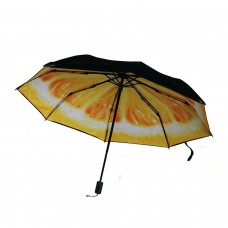 Lemon Compact Umbrella, Yellow Orange Fruit Folding Umbrella