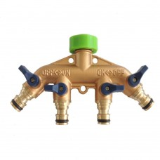 4 Way Garden Hose Splitter, Full Copper Nipples Hose Splitter