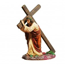 Jesus Carrying Cross Religious Statue Figurine Christian Gift, 4.7 Inches