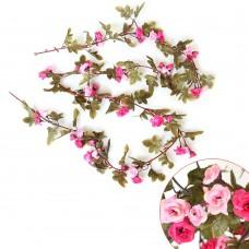 Artificial Fake Silk Flowers Rose Vine Hanging Garland Home Floral Decor (Rose Red)