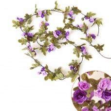 Artificial Fake Silk Flowers Rose Vine Hanging Garland Home Floral Decor (Purple)