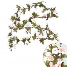 Artificial Fake Silk Flowers Rose Vine Hanging Garland Home Floral Decor (Light Pink)