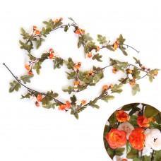 Artificial Fake Silk Flowers Rose Vine Hanging Garland Home Floral Decor (Orange)