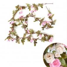 Artificial Fake Silk Flowers Rose Vine Hanging Garland Home Floral Decor (Pink)