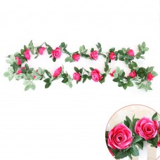Artificial Silk Flowers Rose Vine Floral Garland for Home Wedding Garden Decoration (Rose Red)