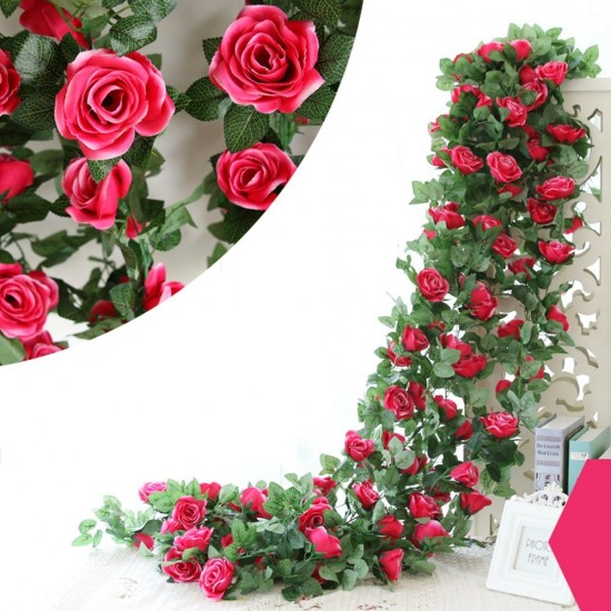 mylifeunit artificial silk flowers rose vine floral garland for home wedding garden decoration rose red