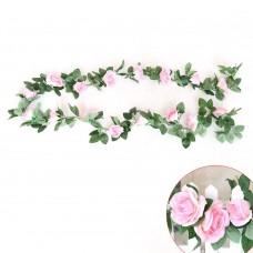 Artificial Silk Flowers Rose Vine Floral Garland for Home Wedding Garden Decoration (Pink)