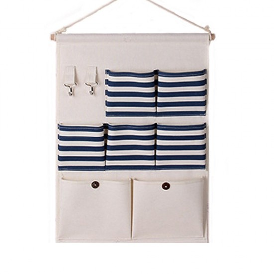 Over The Door Cotton Storage Pockets, Wall Door Cloth Hanging Storage Bag  Case 7 Pocket Home Organizer (blue)