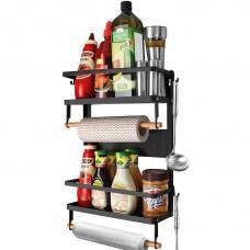 Magnetic Spice Rack, Fridge Organizer with 4 Tier Storage Shelf and Kitchen Towel Holder, Refrigerator Magnet Organizer 5 Hooks for Multi-Purpose