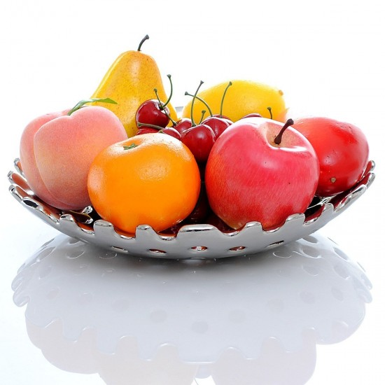 Mylifeunit Ceramic Fruit Bowl Silver Plated Fruit Plate